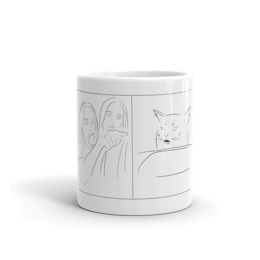 Woman Yelling at Cat Minimalist Design Mug