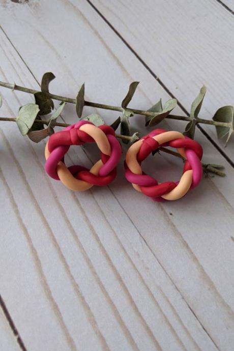 Peach pink and red hoop Polymer Clay Earrings, Dangle Earrings, Clay Statement Earrings, Handmade clay earrings, braided clay earrings