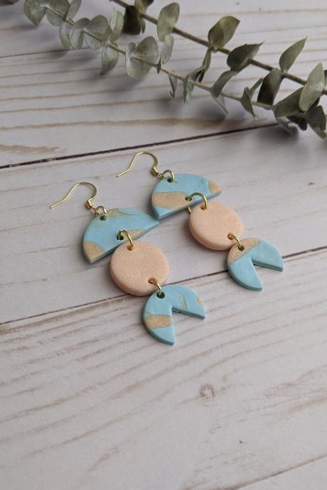 Blue and Pink Dangle Polymer Clay Earrings, Dangle Earrings, Clay Statement Earrings, Handmade clay earrings, custom earrings, clay earrings