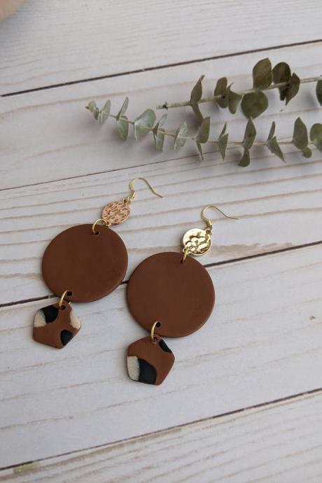 Brown and Tan Polymer Clay Earrings, Dangle Earrings, Clay Statement Earrings, Handmade clay earrings, custom clay earrings, clay earrings