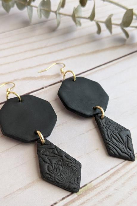 Black Floral Polymer Clay Earrings, Dangle Earrings, Clay Statement Earrings, Handmade clay earrings, custom clay earrings, clay earrings