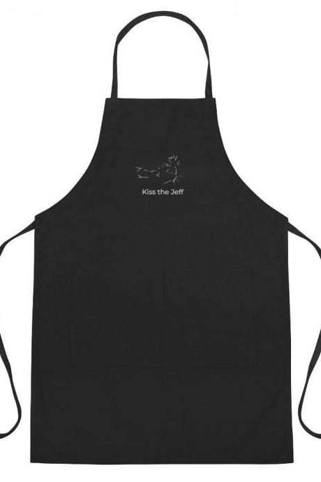Kiss the Jeff Minimalist Inspired Embroidered Apron