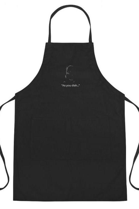 As You Wish Wesley Inspired Minimalist Embroidered Black Apron