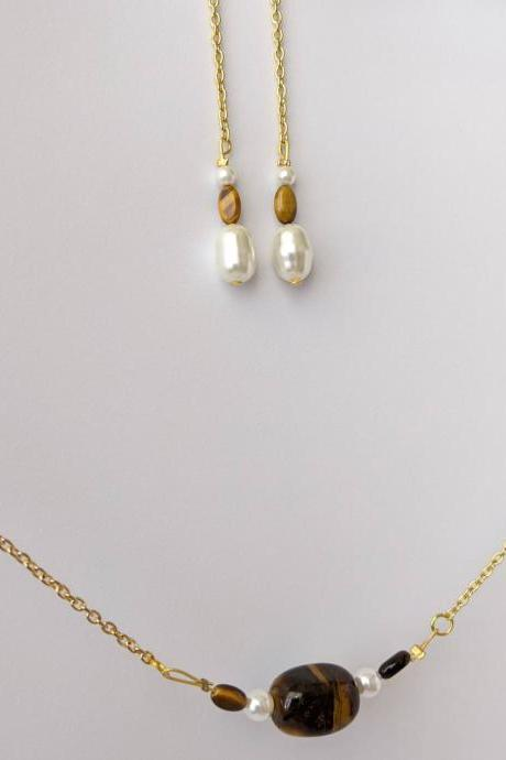 Pearl and Tigers Eye Gemstone Necklace and Dangle Earring Set