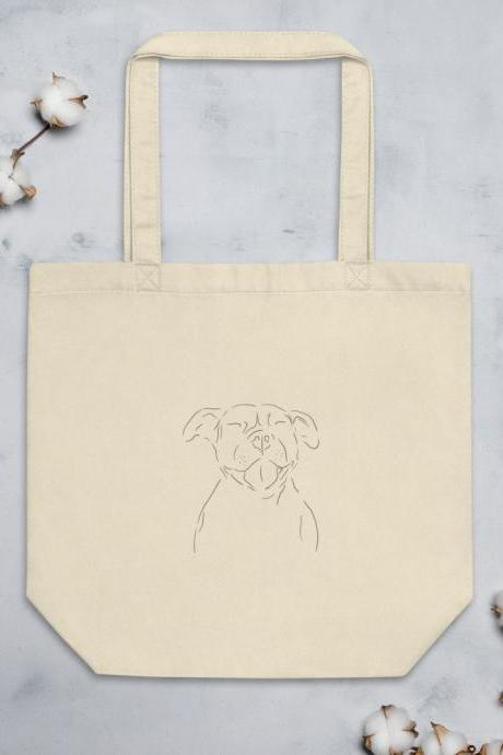 Pitbull Minimalist Design Eco Tote Bag